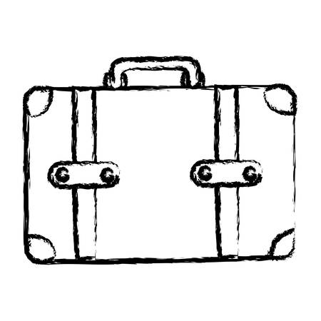 handgrip: monochrome blurred silhouette of leather suitcase vector illustration Illustration