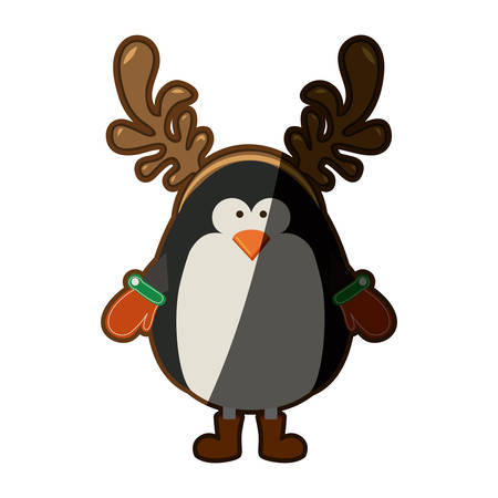 silhouette christmas of penguin with horns of reindeer with half shadow vector illustration