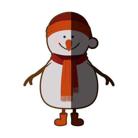 silhouette of snowman with red cap and scarf and boots with half shadow vector illustration