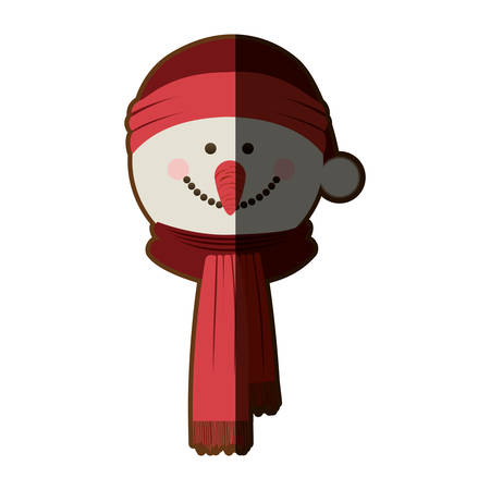 silhouette of snowman face with scarf and christmas hat and half shadow vector illustration