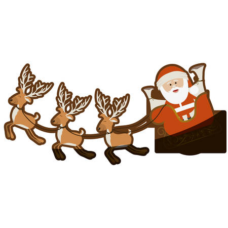color background with set of funny reindeers and santa claus in sleigh and half shadow vector illustration