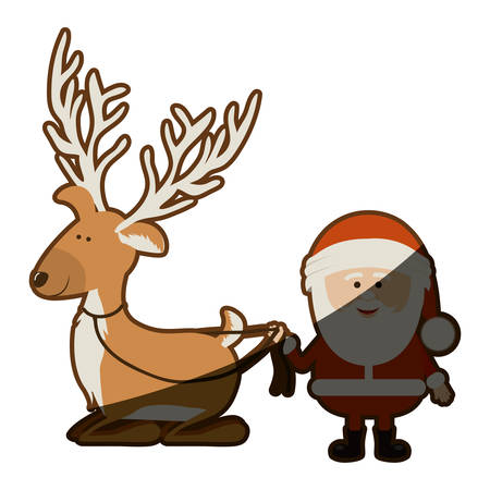 santa sleigh: background with caricatures of reindeer holding by rope to santa claus and half shadow vector illustration Illustration