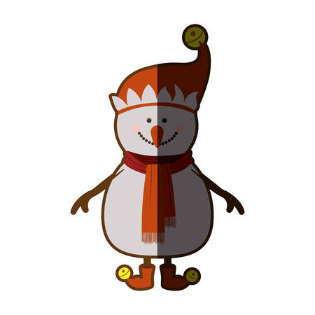 silhouette of snowman with red cap and scarf and boots and yellow garlands with half shadow vector illustration Illustration