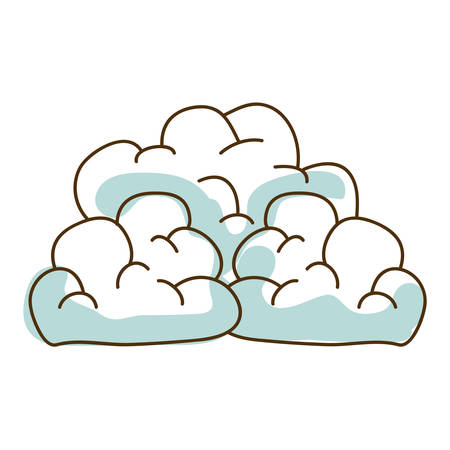 watercolor hand drawn silhouette of cumulus clouds vector illustration
