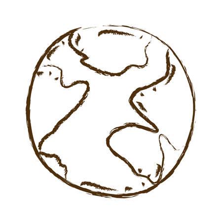 silueta dibujada a mano monocromo de la ilustración de vector de esfera de mapa mundial Vectores