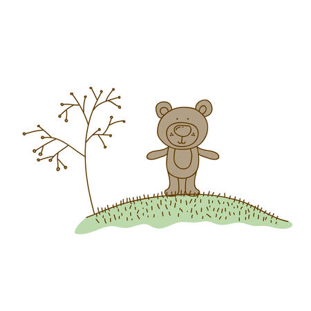 watercolor hand drawn silhouette of bear in hill with plants vector illustration
