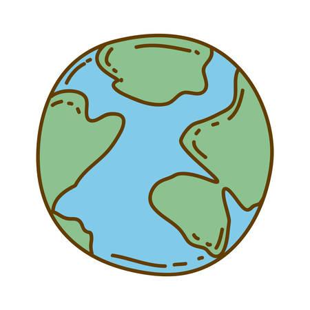 silueta de dibujado a mano de color claro de la ilustración de vector de esfera mundial de mapa Vectores