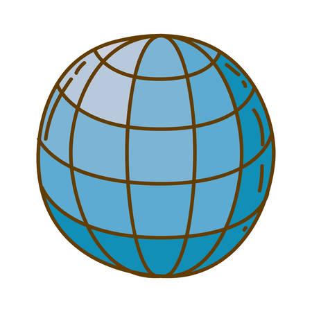 helle farbige Hand gezeichnete Silhouette der Kugel mit Meridiane und Mesh-Vektor-Illustration