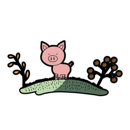 watercolor hand drawn silhouette of pig in hill with plants and half shadow vector illustration