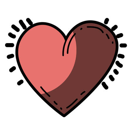 Light Colored Hand Drawn Silhouette Of Heart Icon With Half Shadow