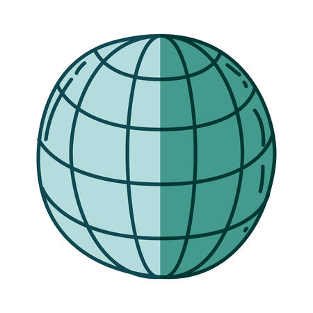 aquamarine hand drawn silhouette of sphere with meridians and mesh vector illustration