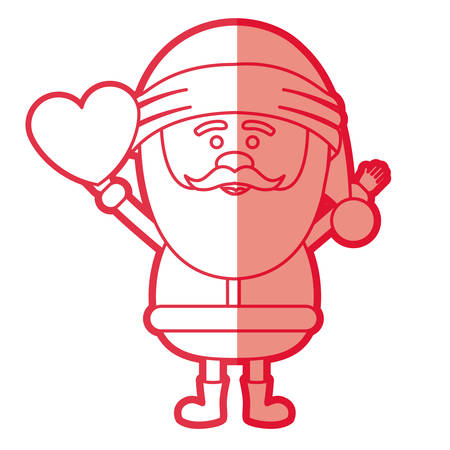 A red silhouette of santa claus with open arms and holding heart in hand vector illustration