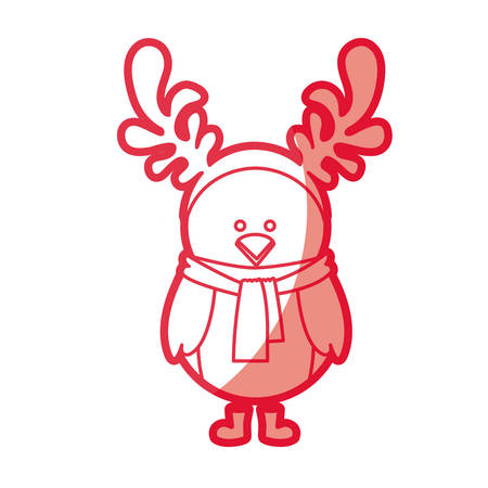A red silhouette of chicken with horns of reindeer vector illustration