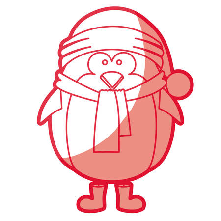 A red silhouette of penguin with boots scarf and gloves and christmas hat vector illustration