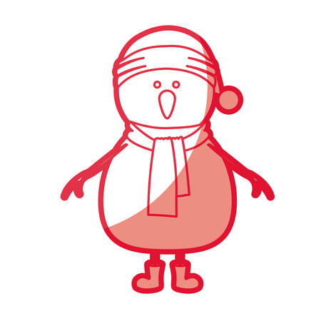 red silhouette of snowman with cap and scarf and boots vector illustration