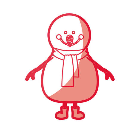 Red silhouette of snowman with scarf and boots vector illustration Illustration