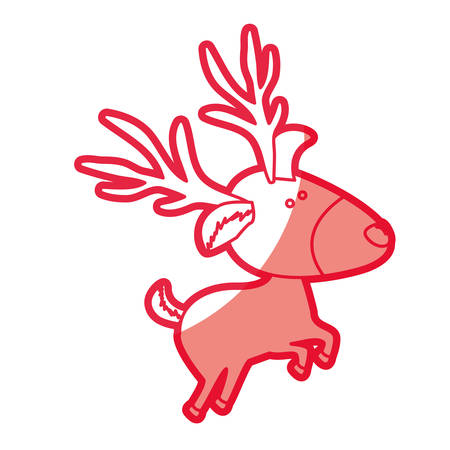 Red silhouette of caricature reindeer jumping vector illustration Illustration