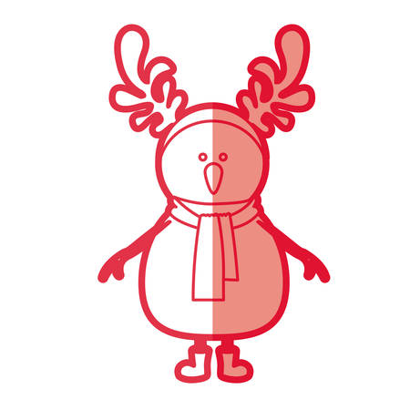 red silhouette of snowman with boots and scarf and horns of reindeer vector illustration