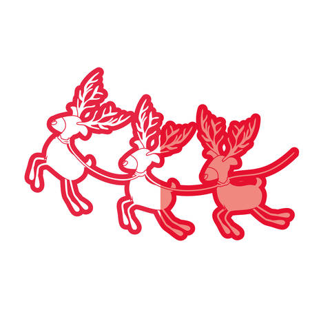 red silhouette with set of three funny reindeers vector illustration