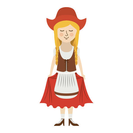 german culture: Girl with traditional cloth icon. Oktoberfest germany culture festival and celebration theme. Isolated design. Vector illustration
