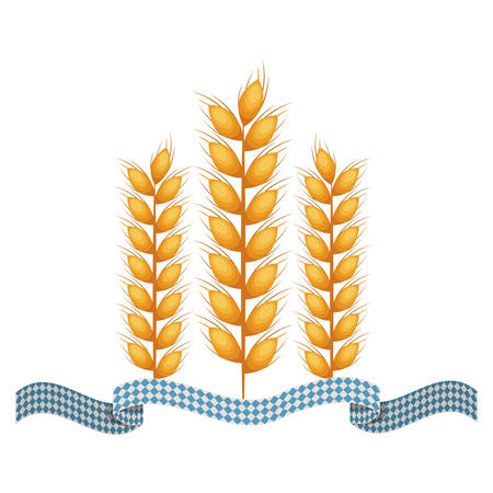 european culture: Flag and wheat ear icon. Oktoberfest germany culture festival and celebration theme. Isolated design. Vector illustration Illustration