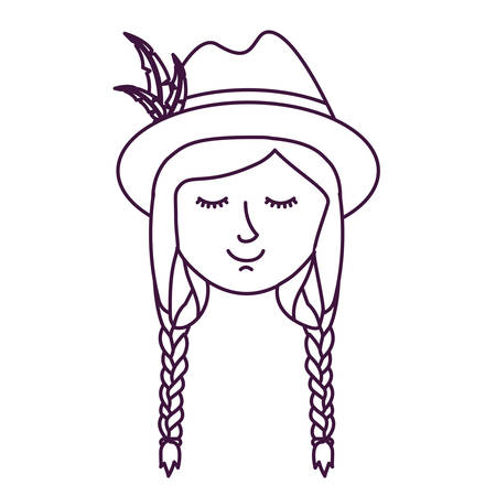 Girl with traditional hat icon. Oktoberfest germany culture festival and celebration theme. Isolated design. Vector illustration