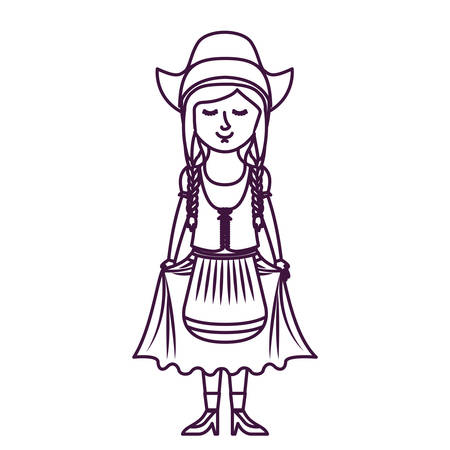 Girl with traditional cloth icon. Oktoberfest germany culture festival and celebration theme. Isolated design. Vector illustration