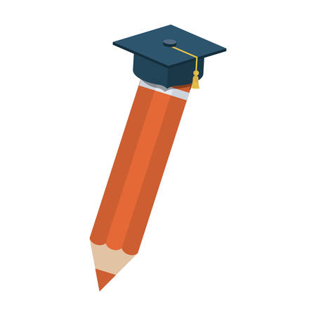 Graduation cap and pencil icon. School supply object and education theme. Isolated design. Vector illustration Illustration