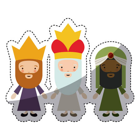 wisemen: The three wisemen cartoons icon. Happy epiphany day holy night and christmas theme. Colorful design. Vector illustration
