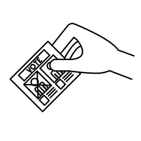 celebrities: Hand and card icon. Vote president election government  and campaign theme. Isolated design. Vector illustration