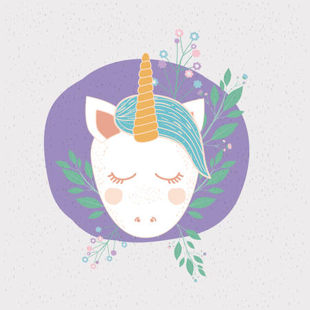 A colorful frame with front face of caricature unicorn in circle with floral decoration vector illustration