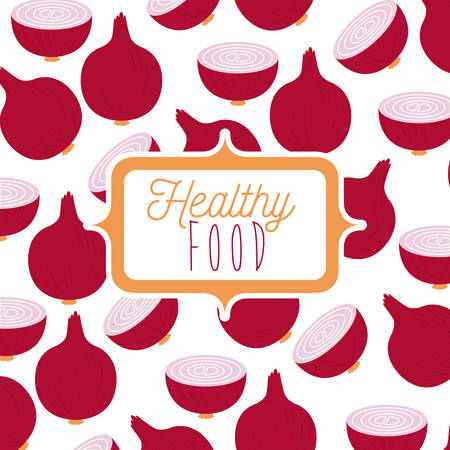 Colorful poster of healthy food red onion pattern