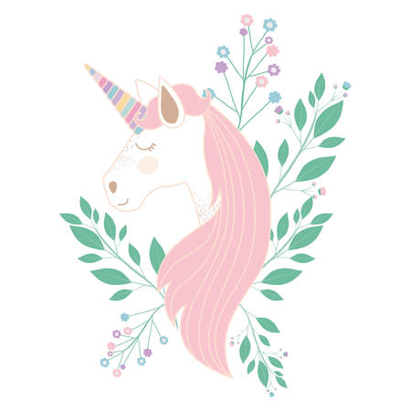 white background with unicorn face and floral decoration vector illustration