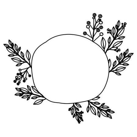 silhouette contour: monochrome contour of floral decoration and circular silhouette vector illustration