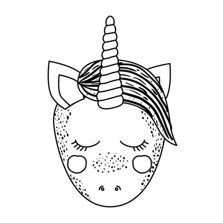 eyes are closed: monochrome silhouette of front face caricature unicorn with closed eyes and mane vector illustration