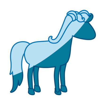 blue silhouette of cartoon faceless horse standing vector illustration