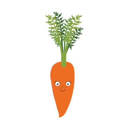 white background of carrot caricature with stem and leaves vector illustration Illustration