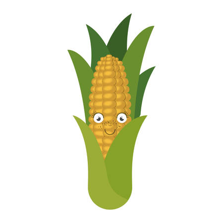 sweetcorn: white background with corn cob caricature with leaves vector illustration