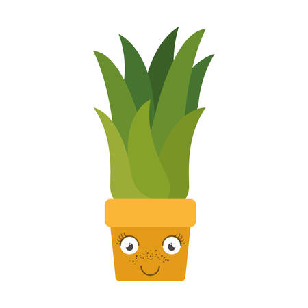 sweetcorn: white background with caricature of corn plant in flower pot vector illustration