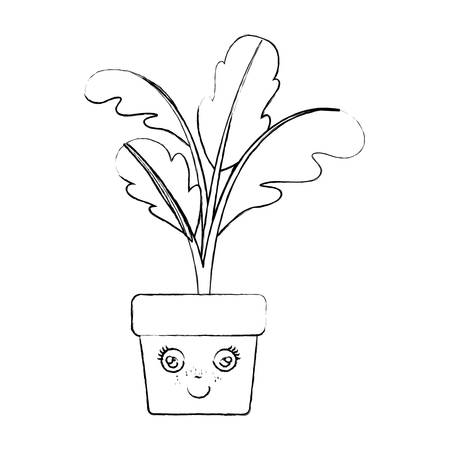 monochrome blurred silhouette of caricature of beet plant in flower pot vector illustration Illustration