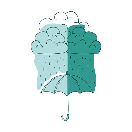 watercolor silhouette of umbrella with cloud and rain on aquamarine vector illustration
