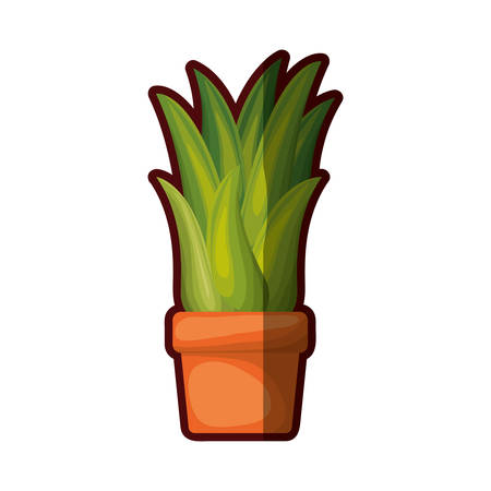 white background with corn plant in flower pot with thick contour vector illustration