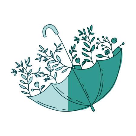 watercolor silhouette of umbrella with plants on aquamarine vector illustration