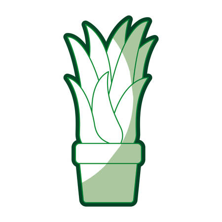 green silhouette of corn plant in flower pot with thick contour vector illustration