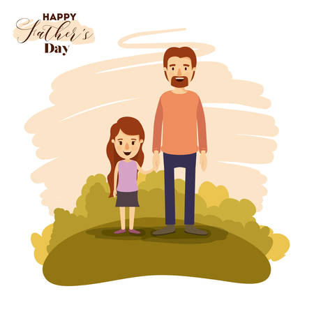hand holding playing card: colorful card of landscape with dad and daugther holding hands on the fathers day vector illustration