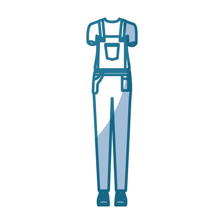 blue silhouette shading of overall woman clothing professional vector illustration