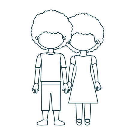 boy long hair: blue contour faceless curly couple girl with dress and boy in casual clothing and taken hands vector illustration