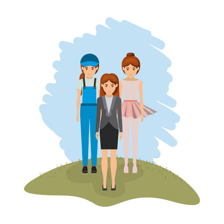 dispatcher: color landscape with business woman and female dancer and dispatcher vector illustration