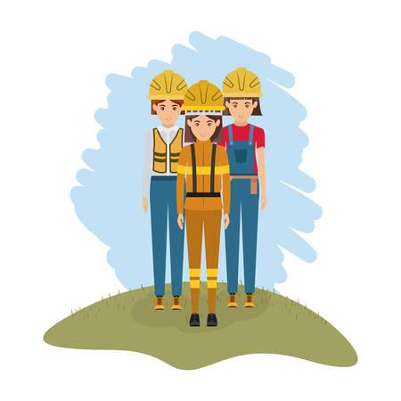 color landscape with female firefighter and women builder vector illustration Illustration