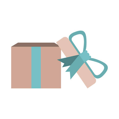 colorful opened gift box with decorative ribbon and topknot vector illustration